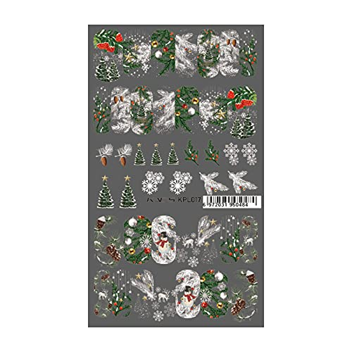 KADS Nail Water Transfer Sticker Nail Decoration Decals Nail Manicure Design Pattern (Christmas Tree & Snowflakes)