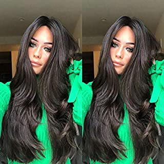 VOLMEY Black Wavy Wig Long Curly Wave Wigs Middle Part Hair Wigs Heat Resistant Fiber Natural Looking Full Hair Wigs for W...