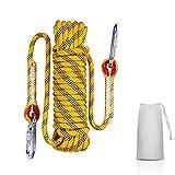 多用途ロープ 多機能ロープ 多目的ロープ 10mm 耐荷重1200kg 10M/20M/30M/ CE認証 テントロープ 防災 安全 アウトドア活動アクセサリー アウトドア キャンプ 防災 軽量アルミカラビナ付 収納袋付き一括収納可 (イエロー10mm, 10M)