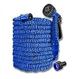 UISEBRT Manguera de Jardín Extensible Azul 15m 50ft - con Pistolas multifunción de de riego jardín- para el hogar y el jardín para la irrigación del jardín de césped (15m, Azul)