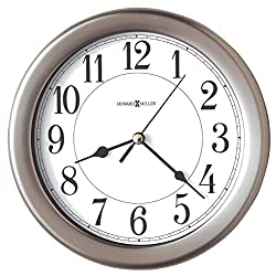 Howard Miller Aries Wall Clock 625-283 – 8.5-Inch Round Brushed Nickel-Finished Case, Modern Home Decor, Quartz Movement Timepiece, 3-Point Secure Screw Mount System