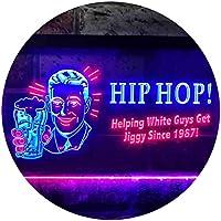 Hip Hop Helping White Guys Beer Bar Dual Color LED看板 ネオンプレート サイン 標識 青色 + 赤色 600 x 400mm st6s64-i0171-br