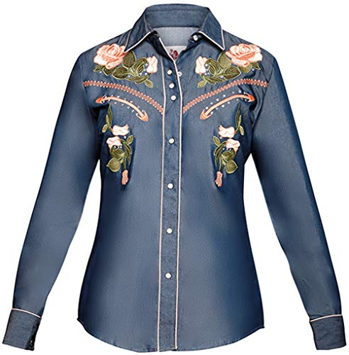 Modestone Women's Floral Embroidered Long Sleeved Fitted Western Camicia Cowboy Denim Blue S