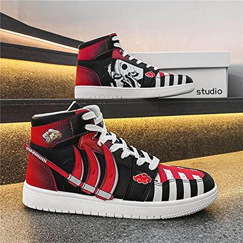 Desk Zapatillas de Deporte Naruto Anime, Zapatillas Altas para Hombre, Zapatillas de Baloncesto, Estampado de Dibujos Animados, Zapatos Casuales para Estudiantes con Cordones 39-44