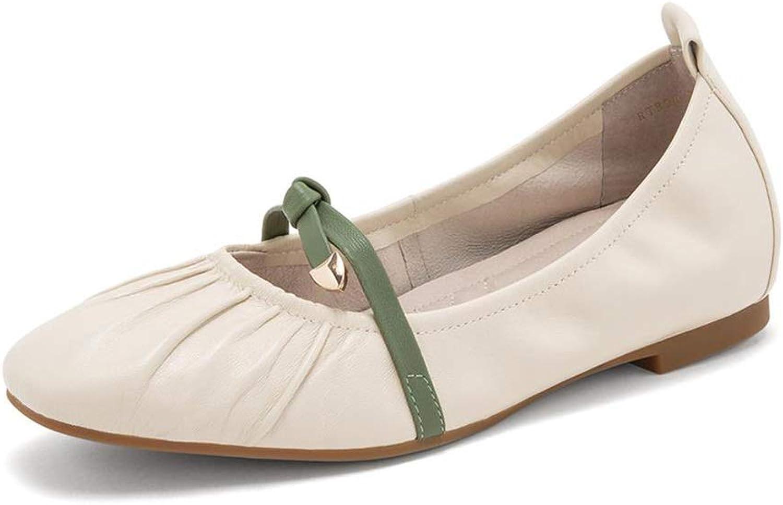 Damenschuhe YXX damen Office & Shopping Schnürschuh aus flachem Lammfell, Damen Round Toe Mary Jane Low-Heel-Schuh (Farbe    1, gre   38)