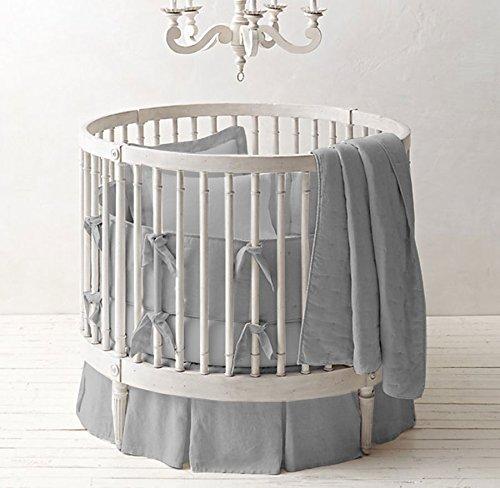 Bedding Empire 42' Dia Round Crib Bedding Set Egyptian Cotton 500 TC 5-Piece Set Fitted Sheet, Pleated Skirt,Comforter,Bumper,Pillowcase (Light Gray,)