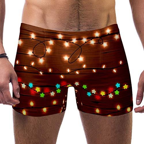 LORVIES Kerst String Lights Mannen Zwemmen Boxer Briefs Korte Vierkante Been Badpak Snelle Droge Zwemkleding, S
