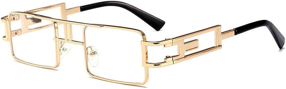 MINCL/Hip-Hop Square Metal Small Frame Clear Color Lens Sunglasses