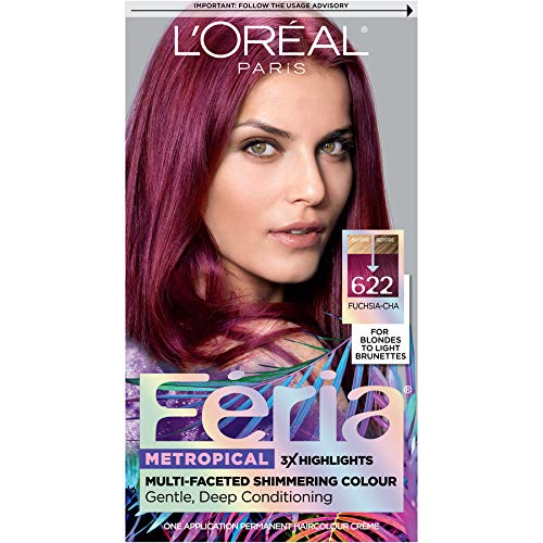 L'Oreal Paris Feria Multi-Faceted Shimmering Permanent Hair Color, Fuchsia-cha, Pack of 1, Hair Dye