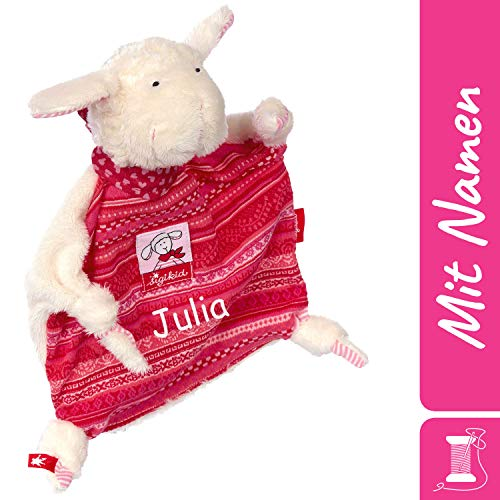 Sigikid Schnuffeltuch Schaf mit Namen Bestickt, Baby & Kinder Schmusetuch personalisiert, Kuscheltuch Geschenkidee Mädchen, Baby Gifts, Rot, 48173