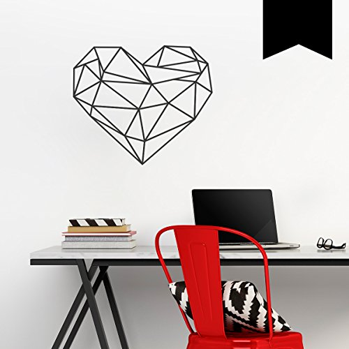 WANDKINGS Wandtattoo - Origami-Style Herz - 50 x 43 cm - Schwarz - Wähle aus 5 Größen & 35 Farben