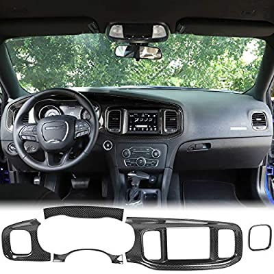 JeCar Interior Accessories Car Center Console Dashboard Trim for 2015-2020 Dodge Charger, Carbon Fiber (Not fit 8.4 inch Screen)