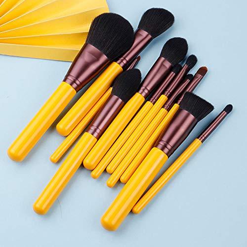 Maquillage pinceau-série jaune 11 pcs brosses à cheveux synthétiques set-visage et yeux stylo cosmétique-cheveux artificiels-beauté-débutant outil-11 pinceaux