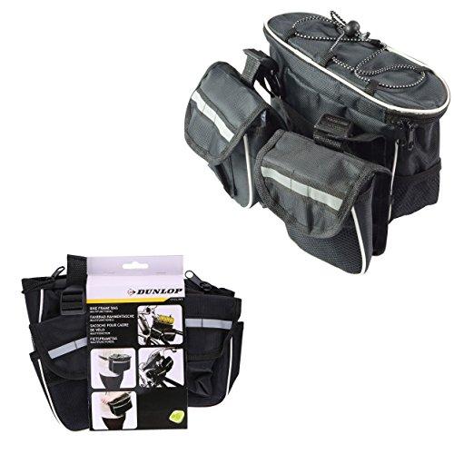 Dunlop Borsa Multifunzione Per Telaio Bicicletta 3 Tasche + Rete Borsone Da Bici Colore Grigio