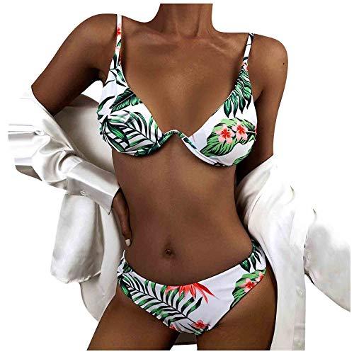 Conjunto de bikini de 2 piezas para mujer, diseño triangular, diseño de hojas, estampado floral, cuello en V, traje de baño hawaiano