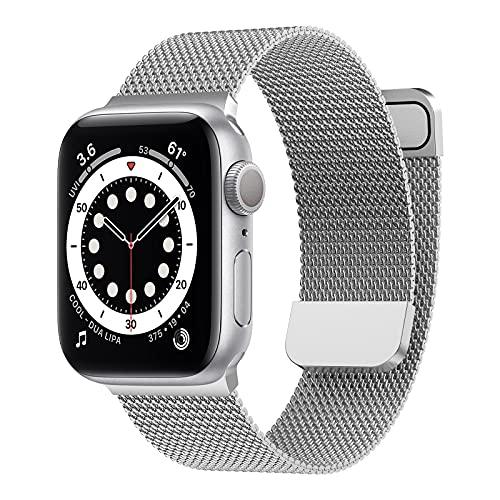 Younsea Compatibile per Apple Watch Cinturino 44mm 42mm 40mm 38mm 41mm 45mm, Cinturino in Metallo Maglia Milanese a Acciaio Inossidabile per Apple Watch SE / iWatch Serie 7 6 5 4 3 2 1 (Argento)