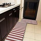 Juego de 2 alfombras y alfombrillas de cocina, diseño clásico de rayas, color rojo y crema, antideslizante, suave, suave, absorbente, para cocina, piso, baño, fregadero, lavandería, oficina