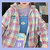 Cloudy Y2K Vintage Elegante Bolsillos con Estilo Chaqueta a Cuadros de Gran tamaño Harajuku Abrigo Mujer Moda Manga Larga Ropa Exterior Suelta con Capucha Chic Tops