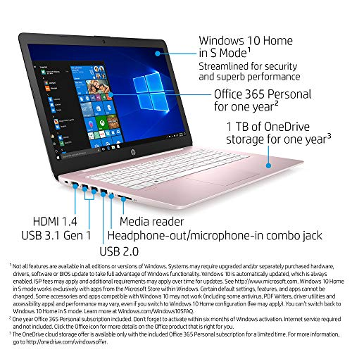 HP Stream 14-Inch Laptop, Intel Celeron N4000, 4 GB RAM, 64 GB eMMC, Windows 10 Home in S Mode With Office 365 Personal For 1 Year (14-cb188nr, Rose Pink) Indiana