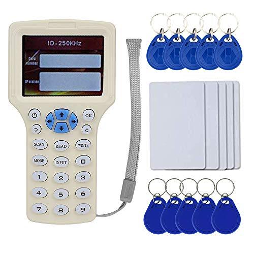 OBO HANDS Inglese Rfid NFC Copier Reader Writer Duplicatore 10 Programmatore di frequenza con Schermo a Colori + 5pcs EM4305 Card + 5pcsT5577 Keyfob + 5Pcs UID Keyfob