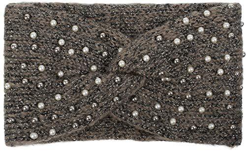 styleBREAKER Damen Strick Stirnband mit Perlen, Metallic Garn und Twist Knoten, warmes Winter Haarband, Headband 04026029, Farbe:Braun-Schwarz