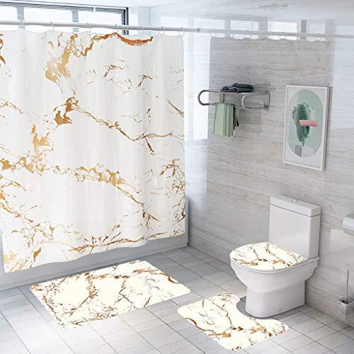 YYM Toilettenkissenbezug Badematte Duschvorhang Set Vierteiliges Set Kreatives Rissvorhang Bodenmatte 4-teiliges Badmatten-Set