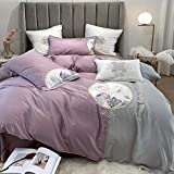 YWYU New Chinese Chinese Style Double-Sided 80 Tencel Four-Piece Ice Silk Embroidery Flower Quilt Cover Bedding (Color : 3, Size : Queen Size 4pcs)