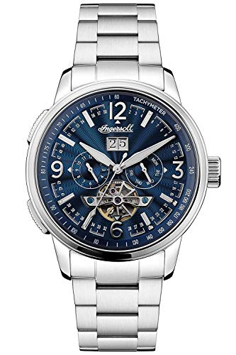 Ingersoll The Regent Mens Automatic Watch I00305B with a Navy Dial and Silver Stainless Steel Band