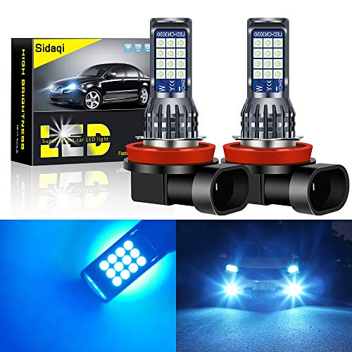 Sidaqi 2Pcs Bright H8   H11 7.2W Bombillas de luz antiniebla LED para automóvil 2835 24 SMD para luz de circulación diurna DRL Faros antiniebla 12V (Iceblue)