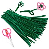 Zxiixz 100 PCS Pipe Cleaners, Dark Green Chenille Stems Creative Craft Pipe Cleaners for Crafts Decorations, Boutiques, Sewing, Weddings, Home