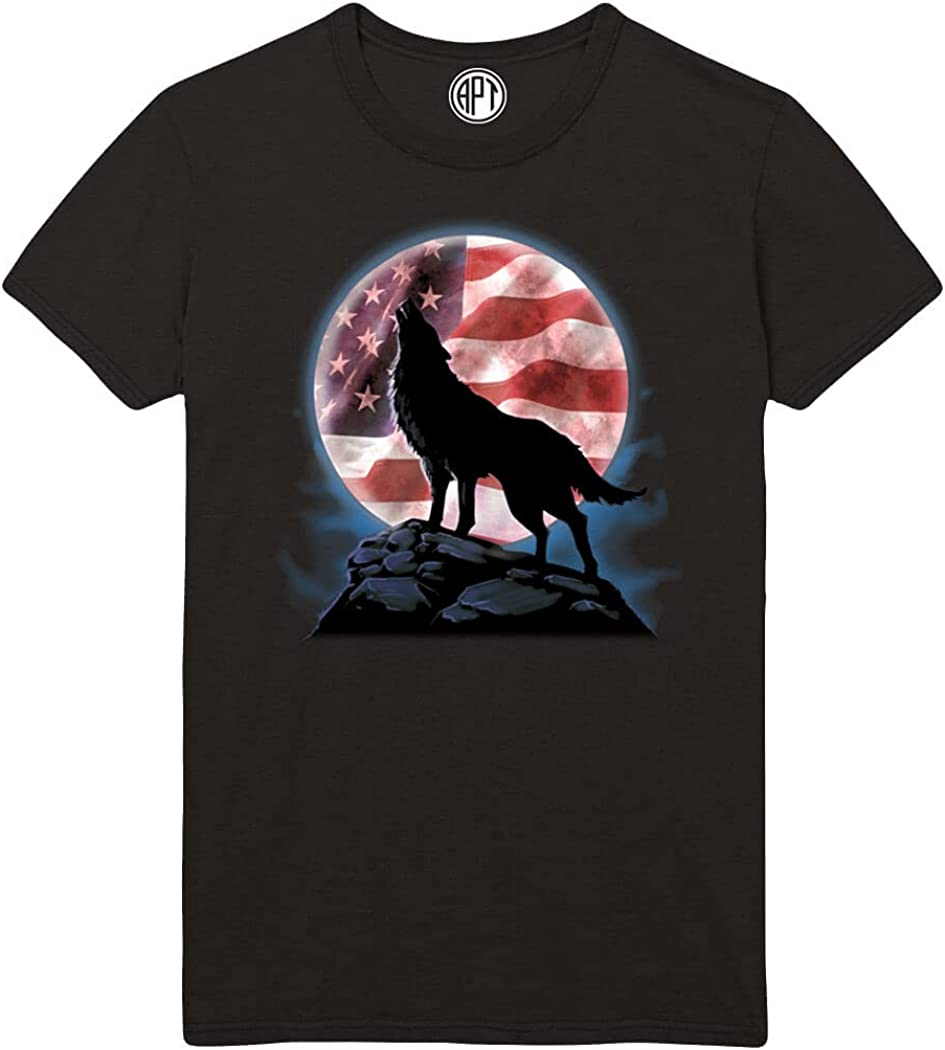 Wolf Moon Howl with American Flag Printed T-Shirt