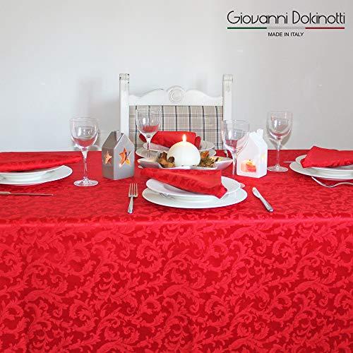 Giovanni Dolcinotti Christmas Collection |Tovaglia Natalizia Rossa 12 posti, 140x280 cm Made in Italy