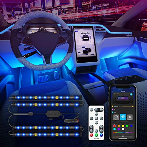 Govee Interior Car Lights with APP Control and Remote Control Music Sync Car LED Lights 2 Lines Design 16 Million Colors 7 Scene Modes RGB Under Dash Car Lighting with Car Charger DC 12V