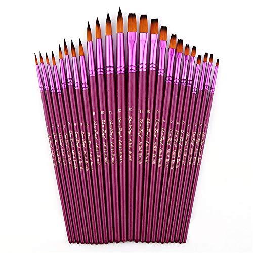 Jklt Ensemble de Pinceaux 24 Ronde Violet Pointu Nylon Art Pinceau Set Acrylique Crochet Pen Ligne for Peinture à l'huile Aquarelle Facile à Nettoyer et Pratique (Couleur : Violet, Size : Free Size)