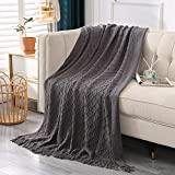 Throw Blanket Knitted Acrylic Woven Blanket, Decorative Soft Blanket with Tassels for Couch, Chair, Bed, Sofa - Lightweight