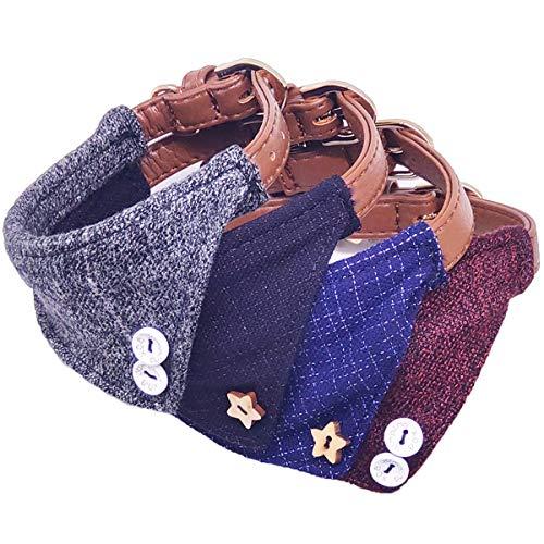 MayPaw Collar Bandana para Perro, Estilo británico, Suave, para Cachorros y Gatos, de Piel triángulo, para Mascotas
