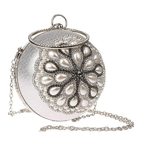Tubayia Frauen Glitter Perlen Kugelform Abendtasche Clutch Handtasche Umhängetasche für Hochzeit Partei Bankett