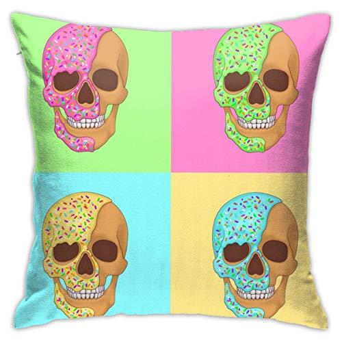 Lsjuee Throw Pillow Cover Donut Skull Pop Art Ilustración gráfica Funda de cojín Decorativa Fundas de Almohada Protectores 45x45 cm