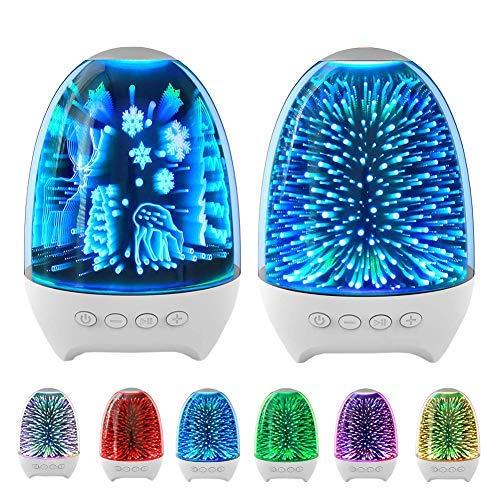 Akemaio Efecto de luz 3D Luz Nocturna Bluetooth 5.0 Altavoces TWS Manos Libres inalámbricas Llamadas Lámpara de Dormitorio Caja de Sonido