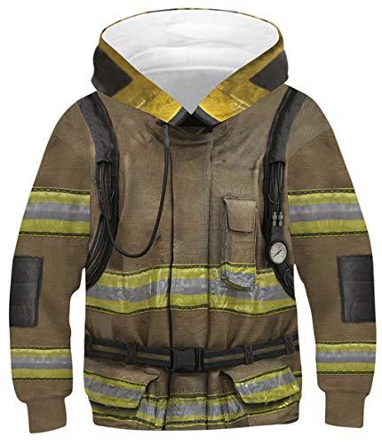 Silver Basic Jungen Weihnachtspullover Winter Pullover Strickpullover Schneemann Socekn Cosplay Sweatshirt,Feuerwehr,XS-1