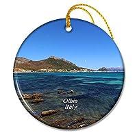 イタリアポルトイスタナビーチオルビアクリスマスオーナメントセラミックシート旅行お土産ギフト