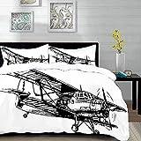 Yaoni Bedding Juego de Funda de Edredón - Decoración de avión Vintage, Dibujo de monoplano incompleto estilizado diseño monocro/Microfibra Funda de Nórdico y Fundas de Almohada - (Cama 150 x 200cm)