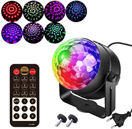 7 Colores Luces Discoteca Giratoria,Bola LED de Discoteca,Disco Luz USB, Controlada por Control Remoto,Lámpara Decorada para Fiesta,Bar,Boda,Navidad,Coche,Festival, Cumpleaños