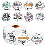 600 Pegatinas en Rollo Retro Thank You, Etiquetas Adhesivas de Gracias de Color Vintage Pegatinas en Rollo de Agradecimiento de Negocio Sellado Decorativo de Sobres para Baby Shower Boda