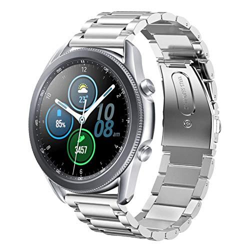 SUNDAREE Compatible con Correa Galaxy Watch 3 45MM,22MM Plata Metal Acero Inoxidable Reemplazo Band Pulsera Repuesto Correa para Samsung Galaxy Watch 3 45MM SM-R840/Huawei Watch GT 2 46MM(45 Silver)
