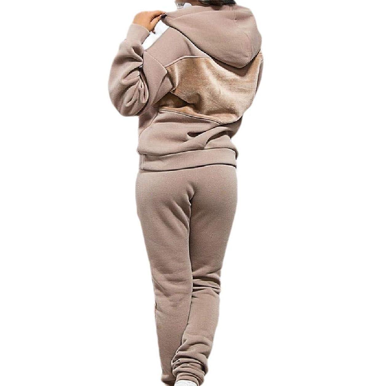 悪党好きである棚Womens Fleece Hoode Velour 2pcs Set Casual Sport Sport Sweat Suit Set