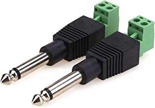 NANYI TS 1/4 Inch Jack, 6.35mm Mono Male Plug for Guitar/Speaker/Microphone Cable That can be Solderless Screw - 2 Pack