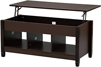 Lift Top Coffee Table with Hidden Storage Compartment and Shelf - Wooden Console Table End Table - Pop-up Storage Home Living Room Furniture