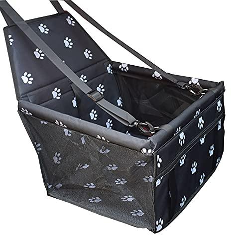 PET-autostoel, huisdierbenodigdheden met ondersteuningstang Ademend auto Basket Car Bag Reistas Opvouwbaar voor katten en honden Autostoel,Black