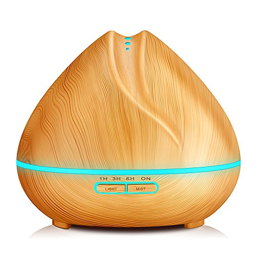 KBAYBO 400ml Humidifier Aroma Essential Oil Diffuser Ultrasonic Air with Wood Grain 7 Color Changing LED Lights for Office Home Bedroom (Light Wood)